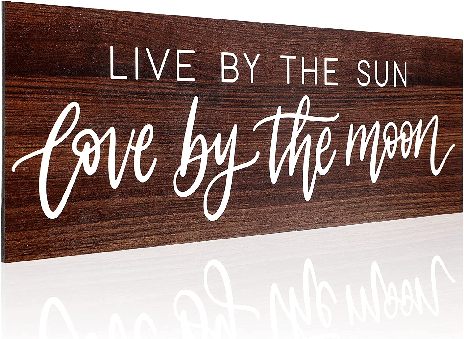 Jetec Live by The Sun, Love by The Moon Wood Sign Personalized Wall Hanging Art Rustic Wood Farmhouse Wall Decor Vintage Hanging Wooden Decoration for Living Room, Nursery, Bedroom, Porch, Home Party