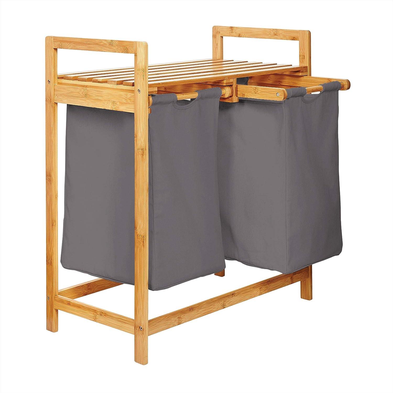 Lumaland Estantería de baño en Bambú con cesto para la Colada - Cesta para Ropa Sucia con 2 compartimientos extraibles - Mueble para el lavadero - 73 x 64 x 33 cm - Gris Oscuro