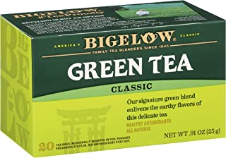 Bigelow Tea Bags, 20 Box Caffeinated, Tea Bags Total Green Tea (Pack of 6)