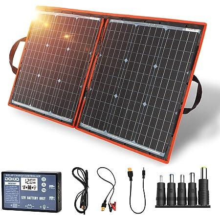 DOKIO ソーラーパネル 80w 12v 折りたたみ式 単結晶 太陽光発電 USB(18V)出力端子 防災グッズ/車中泊/アウトドア