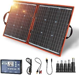 DOKIO 80w ソーラーパネル 折りたたみ式 単結晶 12v バッテリー充電用 USB(18V)出力端子 防災グッズ/キャンプ/アウトドア用
