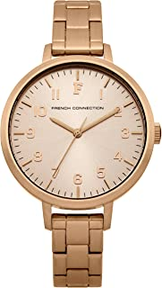 French Connection Women's Quartz Rosebery Rose Gold Dial Quartz Watch for Women with Rose Gold Case and Bracelet analog Display and Stainless Steel Strap, FC1248RGMA