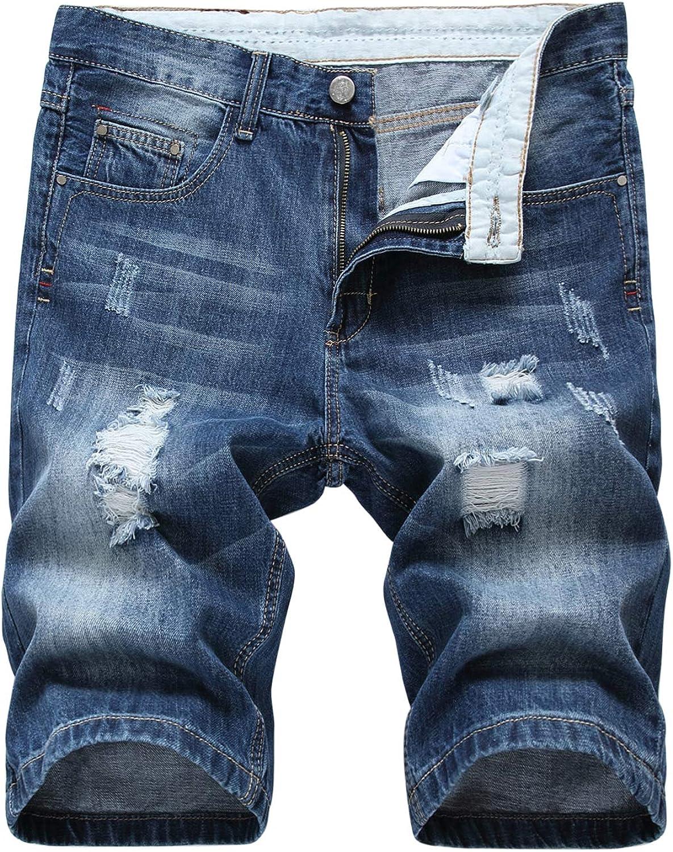 Katesid Mens Straight Leg Ripped Holes Denim Shorts Mid Waisted Casual Distressed Shorts Pants