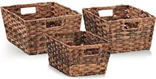 Seville Classics Nesting Woven Rectangular Shelf Storage Basket Assortment (3-Piece Set), MOCHA