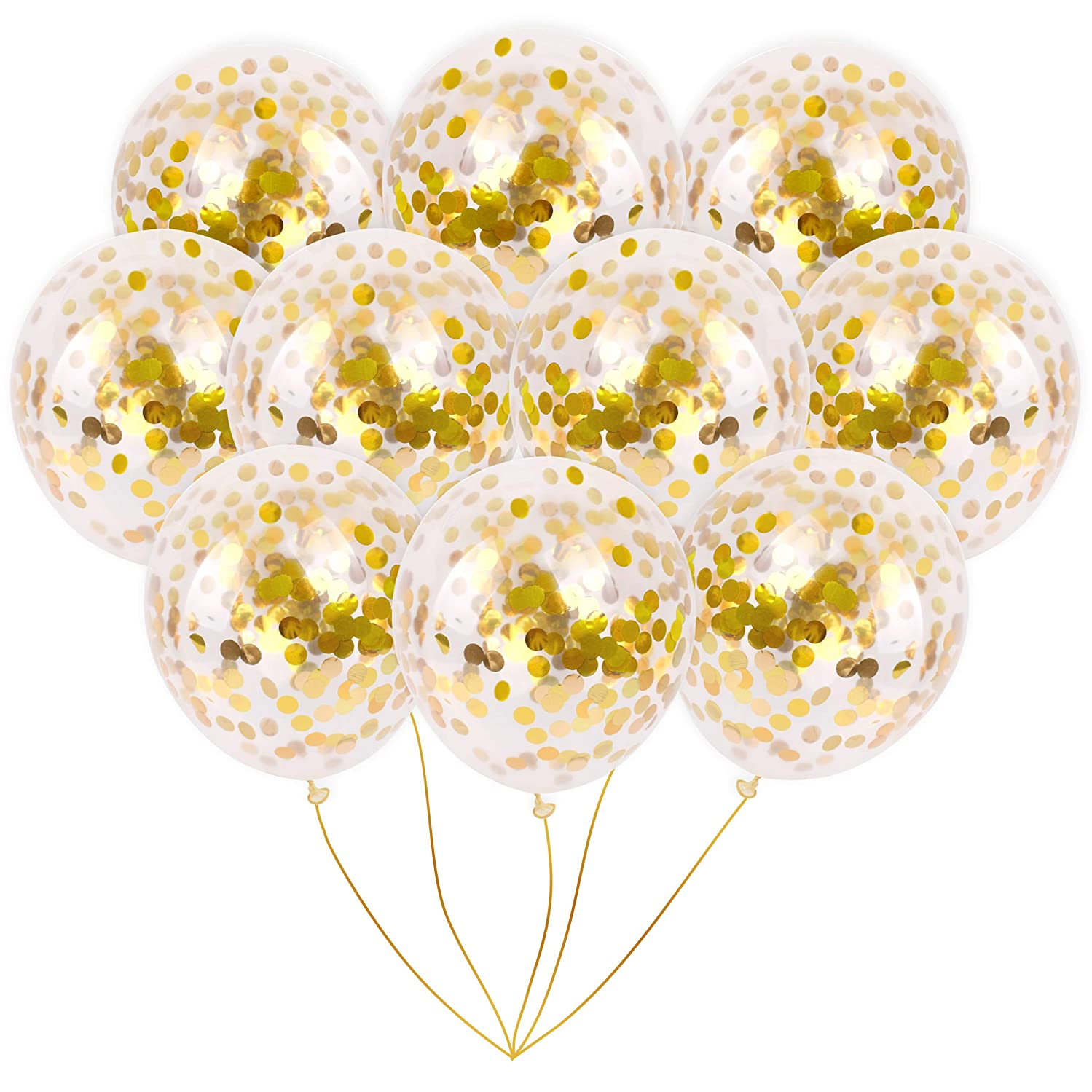 Gold Foil Confetti Balloons | Vibrant Confetti Pre-Filled | Wedding Engagement Birthday Party Events (16 Pack Gold, 18 Inches)