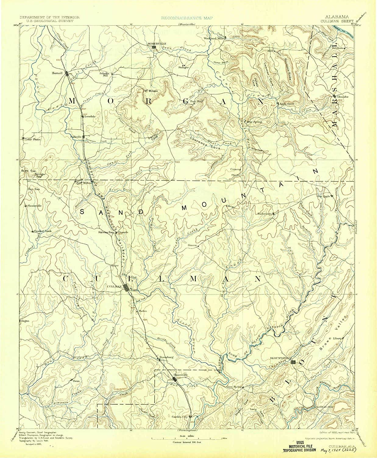 Cullman AL topo map, 1 125000 Scale, 30 X 30 Minute, Historical, 1892, Updated 1924, 19.8 x 16.4 in