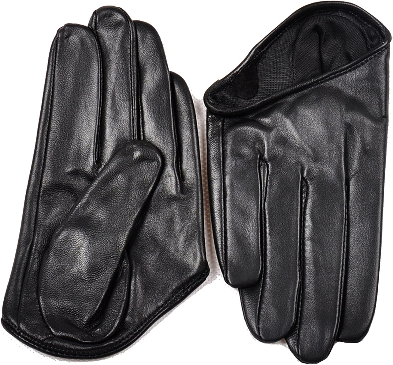 May&Maya Women's Fashion Five-Finger Real Leather Half Gloves