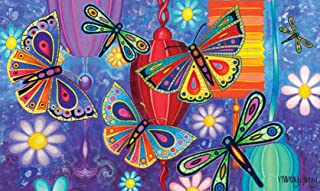 Toland Home Garden Bright Wings 18 x 30 Inch Decorative Floor Mat Colorful Butterfly Dragonfly Flower Lantern Doormat