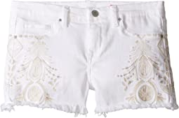 White Embroidered Cut Off Shorts (Big Kids)