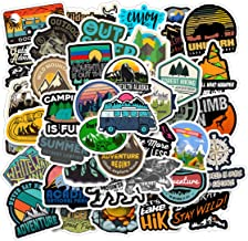 Wilderness Nature Stickers Outdoors Hiking Camping Travel Adventure t 50-Piece Waterproof Skateboard Car Snowboard Bicycle Luggage Décor (Travel Map)