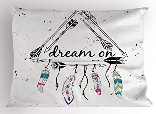 Ambesonne Indie Pillow Sham, Boho Style Arrows Triangle Shape Dream Hand Writing Feathers, Decorative Standard Size Printed Pillowcase, 26