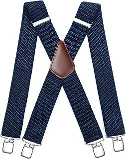 HISDERN Heren bretels met zeer sterke 4 clips, Heavy Duty bretels X stijl verstelbare bretels