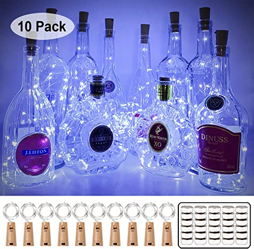 MUMUXI 10 Pack 20 LED Wine Bottle Lights with Cork, 3.3ft Silver Wire Cork Lights Battery Operated Fairy Mini String ...