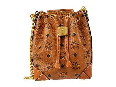 MCM Soft Berlin Visetos Drawstring Mini (Cognac) Bags