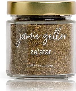 Jamie Geller Za'atar Spice Seasoning | Fresh Hyssop Herb Mix Spices (3.5 oz Glass Jar, 100g) OU KOSHER | Mediterranean Ble...