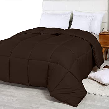 Utopia Bedding Comforter Duvet Insert - Quilted Comforter with Corner Tabs - Box Stitched Down Alternative Comforter (King, Chocolate)