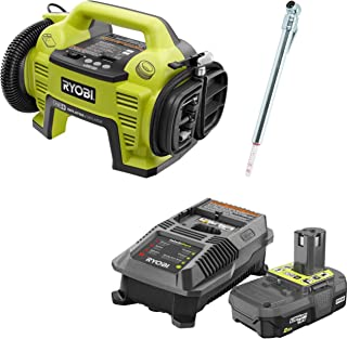Ryobi P731 One+ 18v Dual Function Power Inflator/Deflator with Charger, P163 Lithium-ion 2.00Ah battery and Pittsburgh Automotive Pencil Tire Gauge (Bundle)