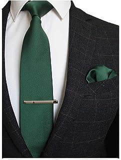 JEMYGINS Herren Hochzeit Krawatten und Einstecktuch krawattenklammer Set einfarbig in verschiedenen Farben
