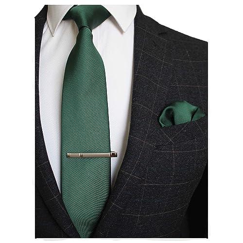 75f707f325ef JEMYGINS Solid Color Formal Necktie and Pocket Square Tie Clip Sets for Men