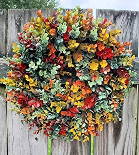 Fall Eucalyptus Farmhouse Wreath,Autumn Wreath Frame For Front Door Outside,Eucalyptus Wreath For Front Door Fall Wreaths ...