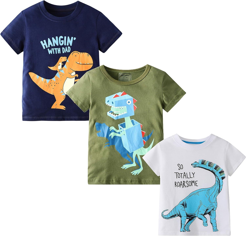 MSSMART Toddler Boys Summer T-Shirts Short Sleeve Top 3 Packs Size 2-7T