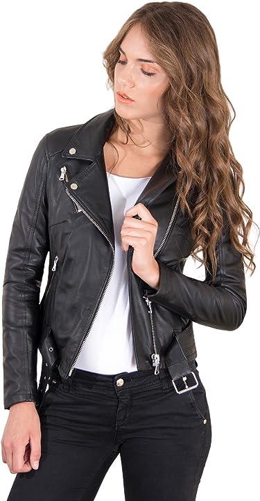 Chiodo in pelle donna nero giacca giubbotto moto vera pelle made in italy chiodo d`arienzo B08C5BVQQN