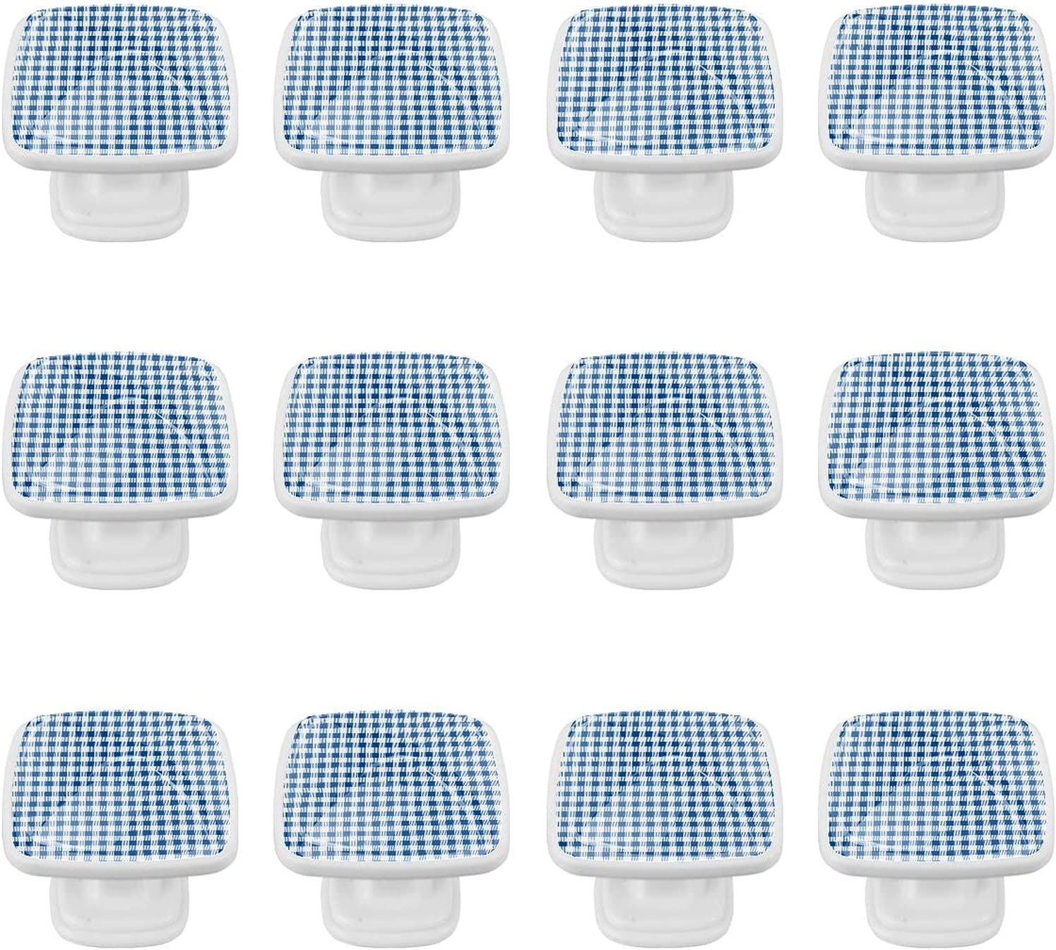 Kitchen Cabinet Knobs - Textured Blue Regular dealer OFFicial mail order and Inc Plaid 1.18 White