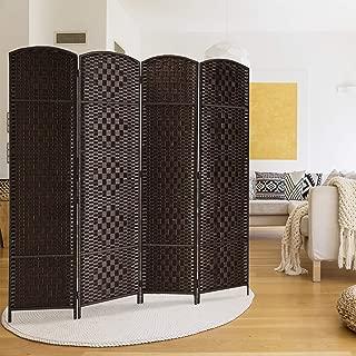 Rose Home Fashion RHF 6 ft. Tall Diamond Weave Fiber Room Divider 6 Panel (Dark Coffee, 4 Panel)