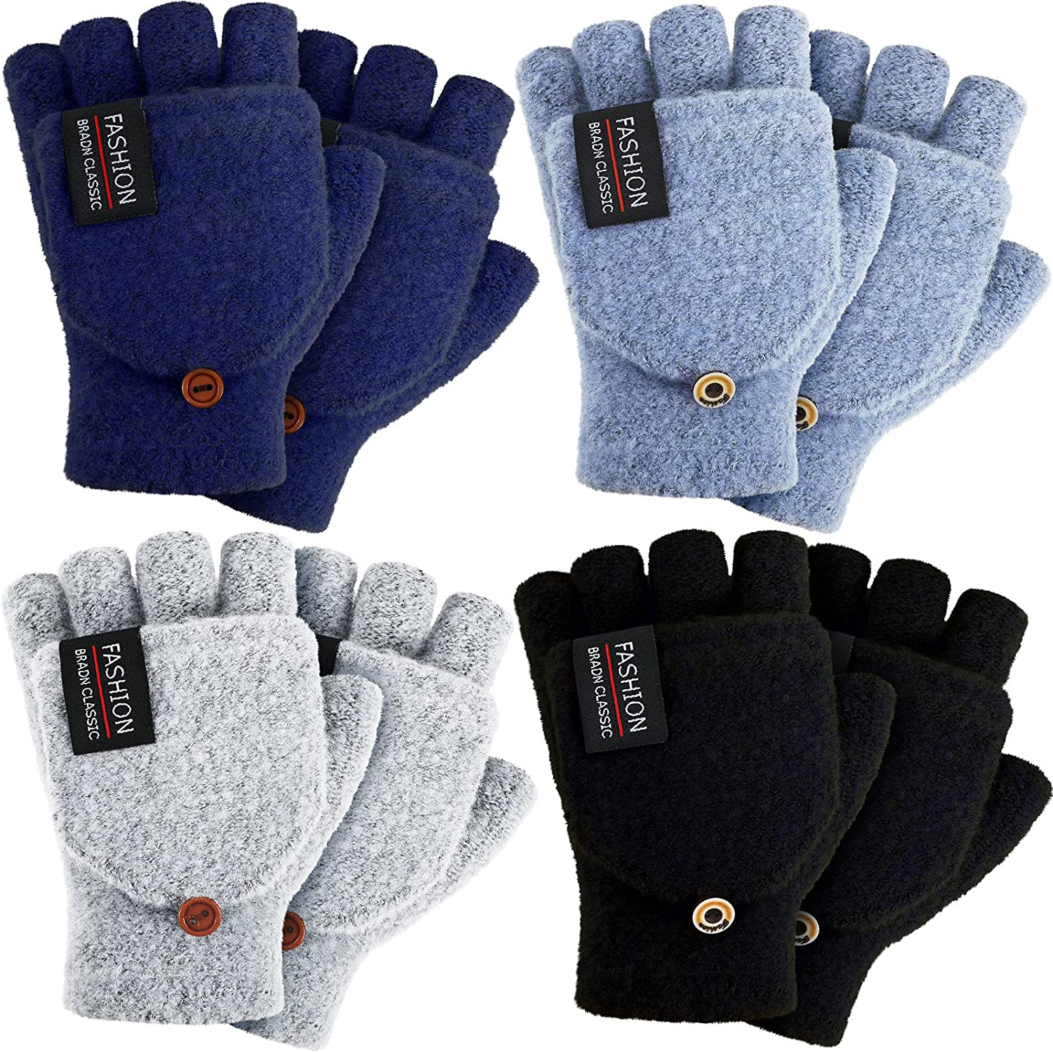 4 Pairs Winter Gloves Warm Wool Knitted Convertible Fingerless Gloves Thermal Half Finger Typing Gloves with Mitten Cover for Women Men