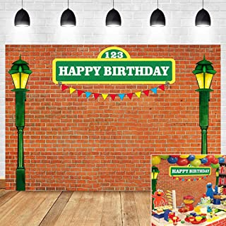 Sesame Street Brick Wall Photography Backdrop for Boys Girls Happy Birthday Supplies Vinyl 7x5ft Photo Booth Studio Props Decoration Photo Background Picture Baby Shower Cake Table