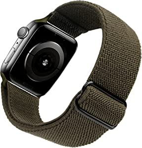 Arae Stretchy Nylon Watch Band Compatible with Apple Watch Band 44mm 42mm Adjustable Elastic Sport Band for iWatch Series 6 5 4 SE 3 2 1 Women Men - Olive Green, 42/44mm