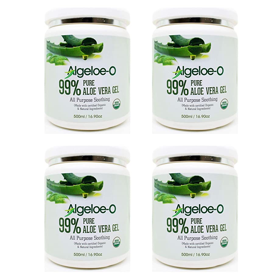 獲物分散ロッカーAlgeloe-O? Organic Aloe Vera Gel 99% Pure Natural made with USDA Certified Aloe Vera Powder Paraben, sulfate free with no added color 500ml/16.9oz. Pack Of 4