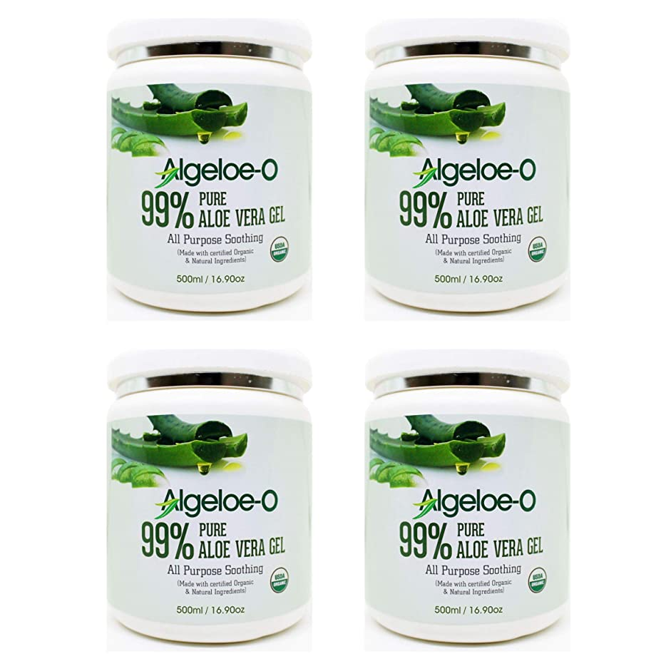 かまど最小縫うAlgeloe-O? Organic Aloe Vera Gel 99% Pure Natural made with USDA Certified Aloe Vera Powder Paraben, sulfate free with no added color 500ml/16.9oz. Pack Of 4
