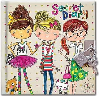 Jewelkeeper Rachel Ellen Designs Girls Rule Secret Locking Diary, Lock and Key Journal, Girl Power