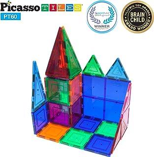 PicassoTiles 60 Piece Set 60pcs Magnet Building Tiles...