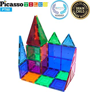 PicassoTiles 60 Piece Set 60pcs Magnet Building Tiles Clear Magnetic 3D Building Blocks Construction Playboards - Creativity beyond Imagination, Inspirational, Recreational, Educational, Conventional