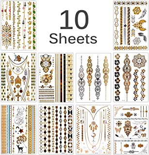 Lady Up 10 Large Sheet +75 Designs Metallic Tattoos for women- Jewellery Temporary Tattoo & Indian Body Art Henna Gold Silver (gold)