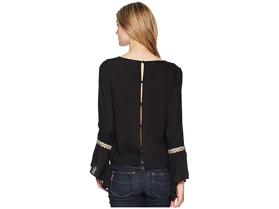 Roper 1620 Rayon Long Sleeve Scoop Neck Blouse (Black) Women