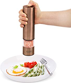 Eparé Salt or Pepper Grinder - Battery Operated Ceramic Burr Peppermill - Stainless Steel - Powerful Mill With LED Light