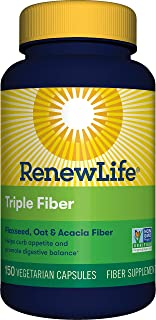 Renew Life Adult Fiber Supplement - Triple Fiber - Dietary Fiber - Dairy & Soy Free - 150 Vegetarian Capsules