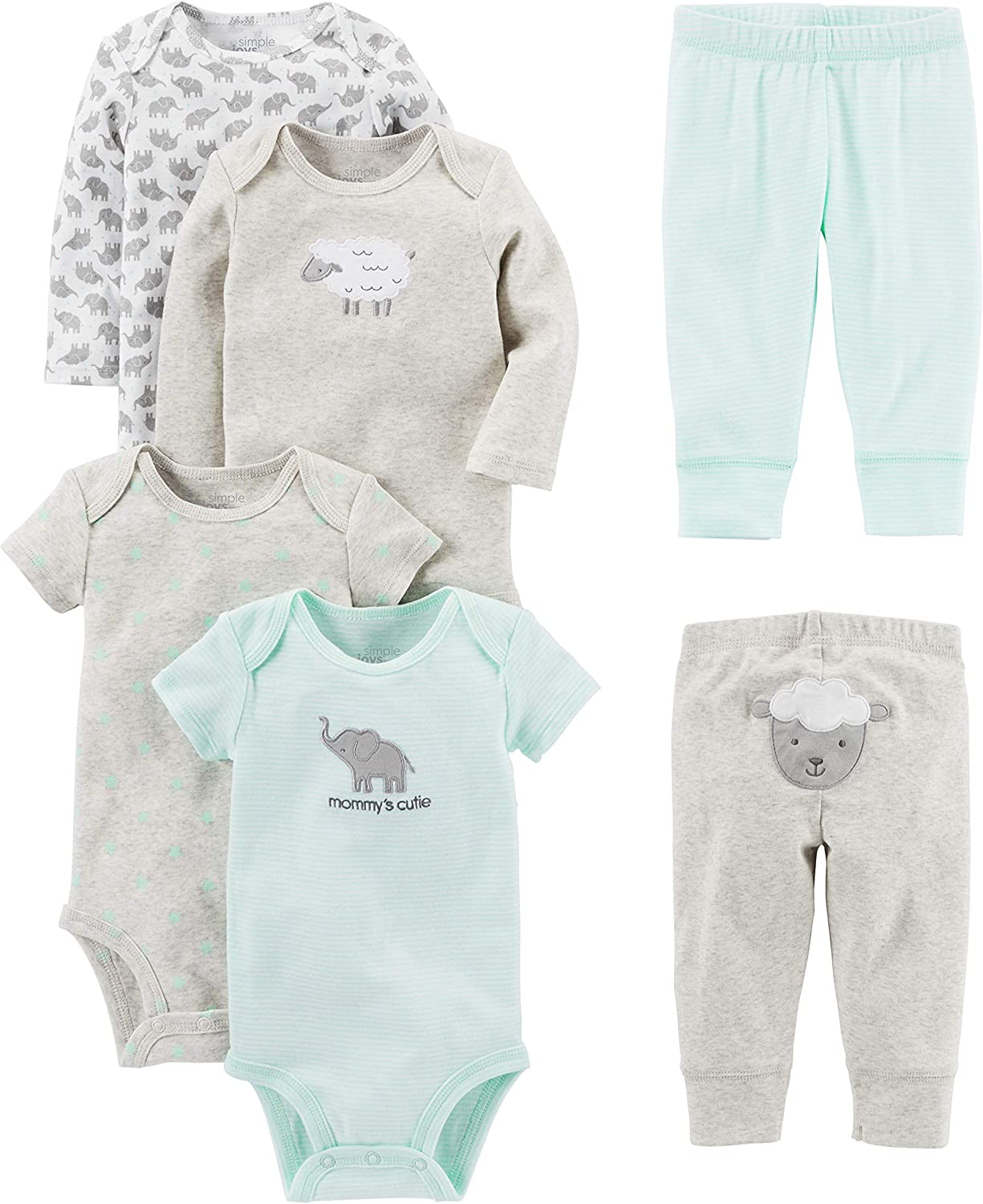 Simple Joys Time sale by Carter's Baby Our shop OFFers the best service an Bodysuits Neutral 6-Piece Short