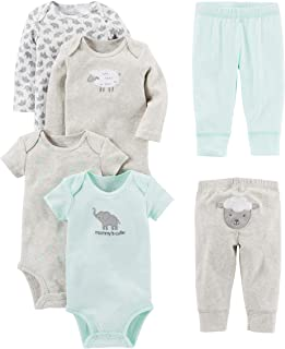 Baby 6-Piece Bodysuits (Short and Long Sleeve) and Pants Set