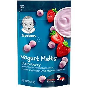 Gerber Yogurt Melts Freeze-Dried Yogurt Snack, Strawberry, 1 Ounce (Pack of 7)