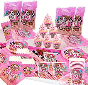 87pcs LOL Party Supplies Set Birthday Party Decoration Plate, napkin, cup, table cover, muffin cup, popcorn box, gift bag LOL Theme Birthday Party for Kids Baby Shower