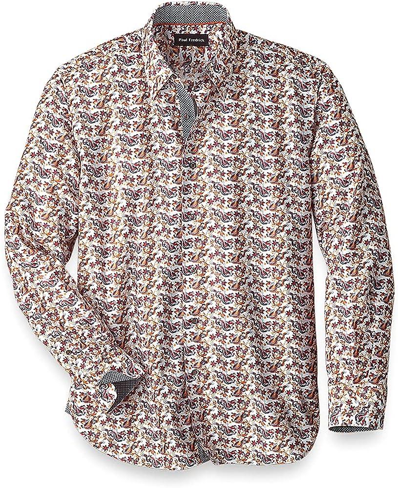 Paul Fredrick Men's Easy Care Cotton Blend Dragon Casual Shirt