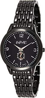 August Steiner Men's Swiss Dress Watch - Coin Edge Case with Black Dial and Seconds Subdial on Black Bracelet - AS8022