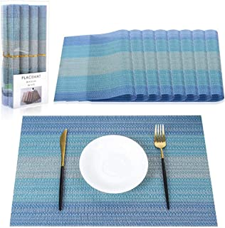 PROKITCHEN Placemat,Washable Crossweave Black Woven Vinyl Non-Slip Insulation Elegant Placemat for Dining Table Mats Set o...
