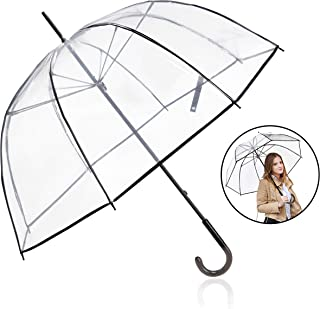 Clear Bubble Umbrella,Clear Umbrella Bulk Wedding Windproof, Transparent Clear Dome Umbrella with Color Trim for Women and Kids