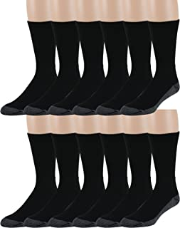 Men's Crew Work Socks - 12 Pack - Cushioned Sole - Mesh Ventilation - Arch Support - Soft and Comfortable