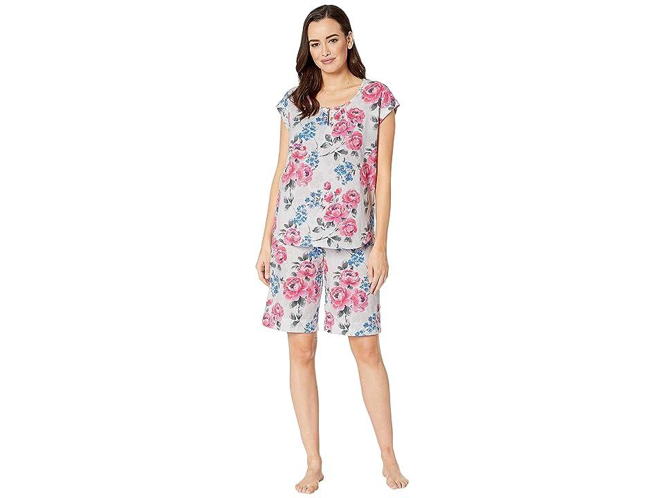 Karen Neuburger Cosmopolitan Short Sleeve Bermuda Set (Floral/Pink) Women